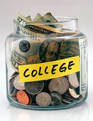 Glass jar with money for college