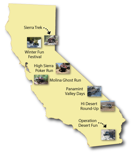 Map of California showing Cal4Wheel event locations