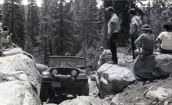 Old photo of Jeep on trail at Sierra Trek