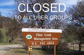 Clear Creek is currently closed
