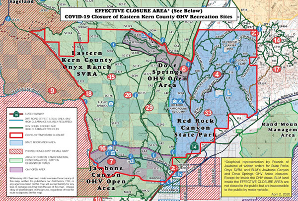 Map showing COVID-19 closure areas in Eastern Kern County OHV Recreation sites
