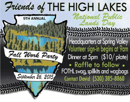 Friends of the High Lakes Fall Work Party is September 26, 2015
