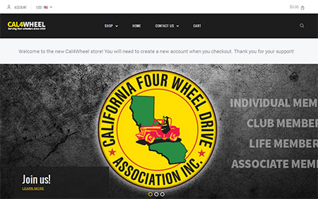 Screenshot of new Cal4Wheel store home page