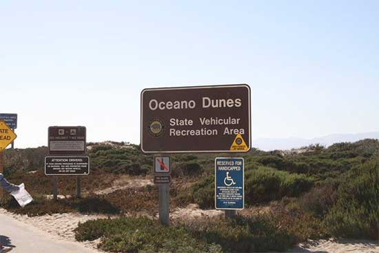 Entrance signs at Oceano SVRA