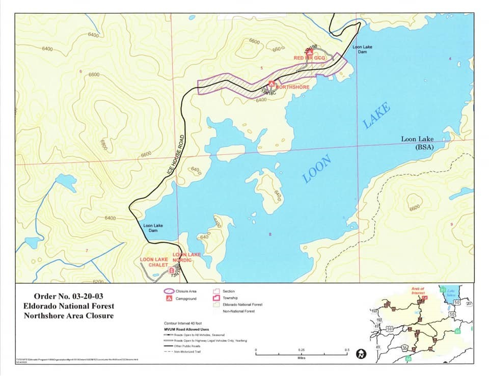 Map showing closures on Rubicon trail