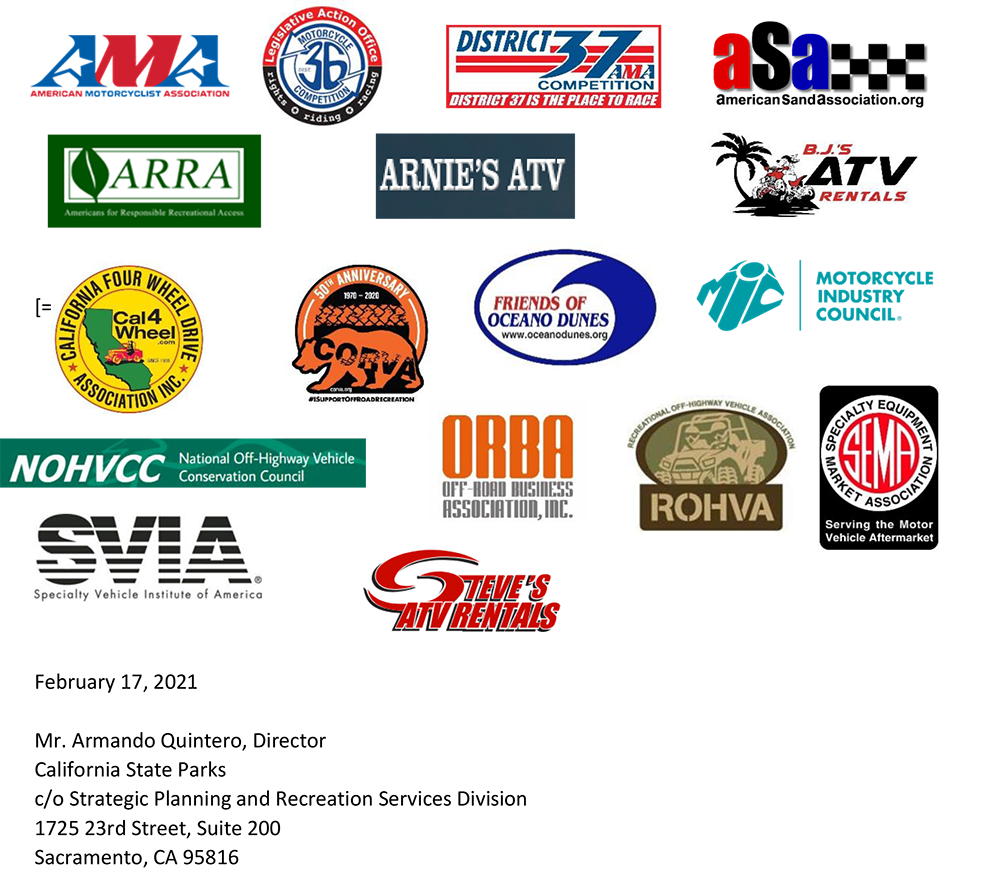 17 organizations write to oppose Oceano SVRA's draft Public Works Plan
